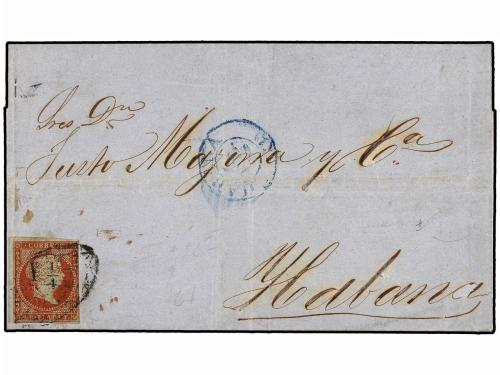 ✉ CUBA. 1858. SEVILLA to HABANA. Wrapper circulated privatel