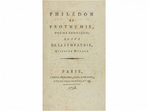 1793 Libro Erótica Philédon Et Prothumie Poème èrotiqu