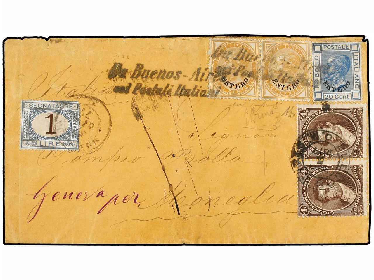 ✉ ARGENTINA. 1877. BUENOS AIRES to MONEGLIA. Circulated with