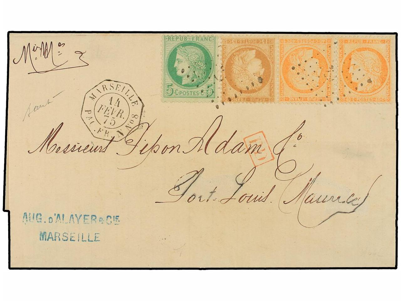 ✉ FRANCIA. Yv. 38 (2), 53, 55. 1875 (Feb. 14). Cover from MA