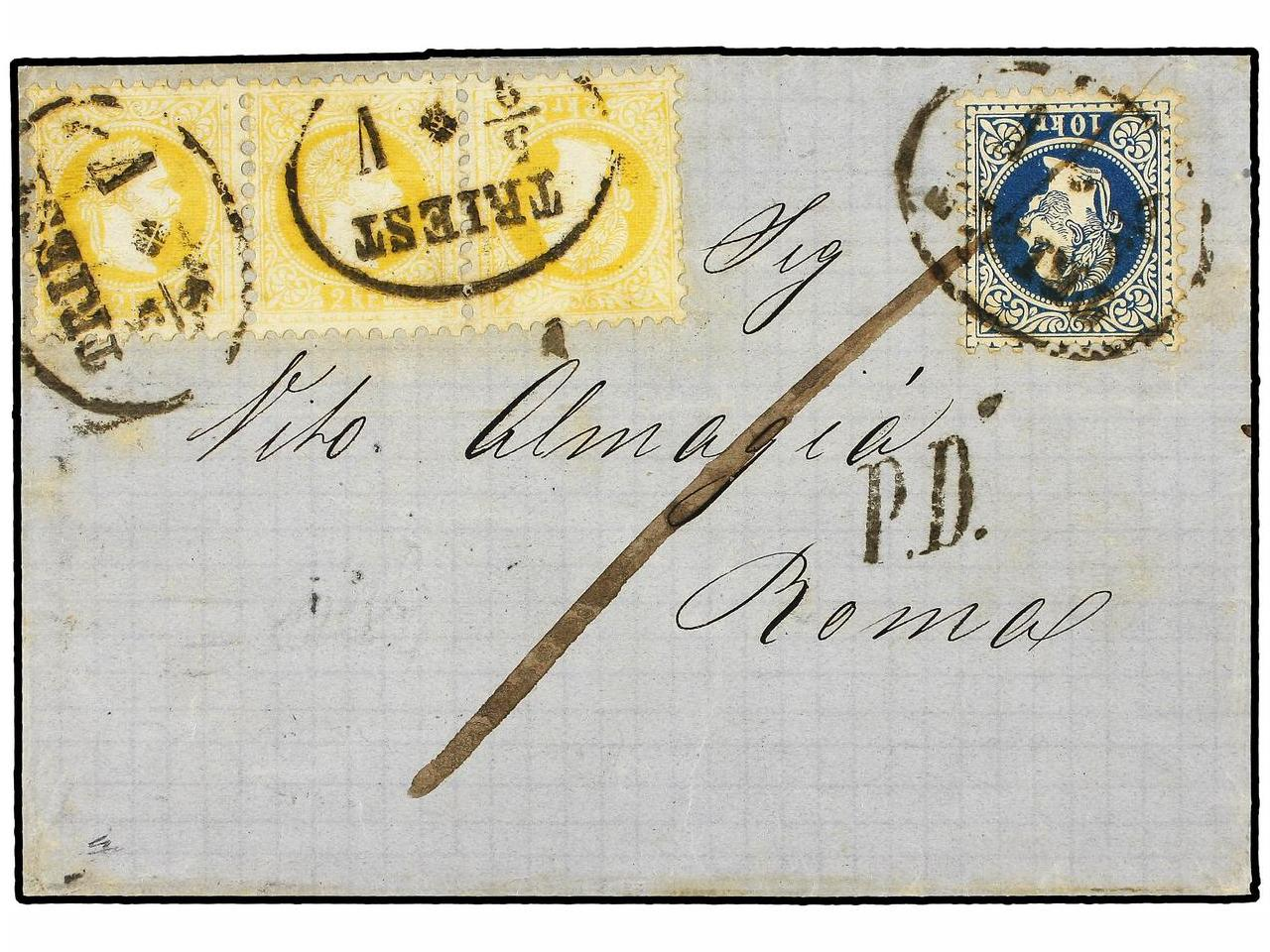 ✉ AUSTRIA. Sc. 27, 30. 1868 (Sept. 5). Cover from TRIEST to