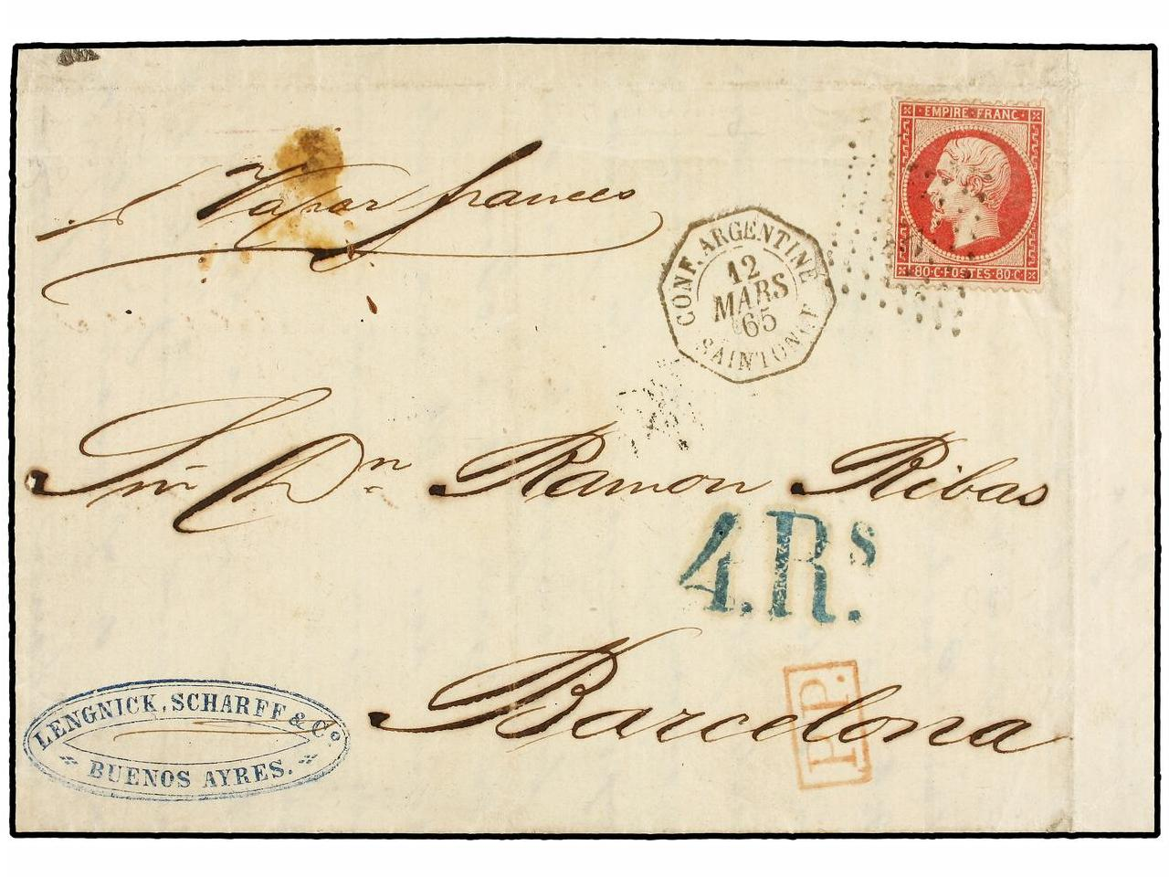 ✉ ARGENTINA. Sc. 24. 1865 (March 12). Entire letter from BUE