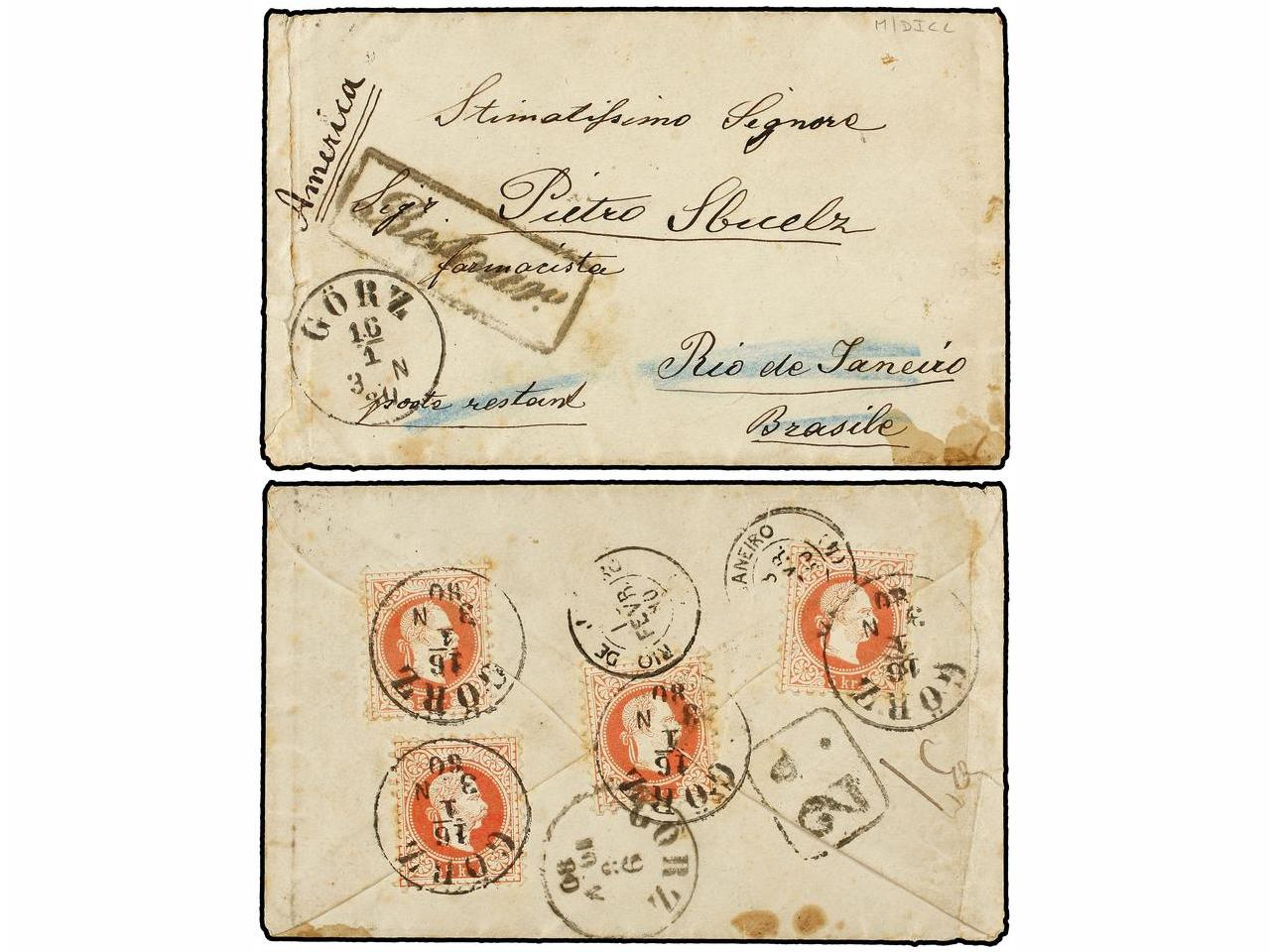 ✉ AUSTRIA. 1880 (Jan 16). Cover from Gorz to the Poste Resta