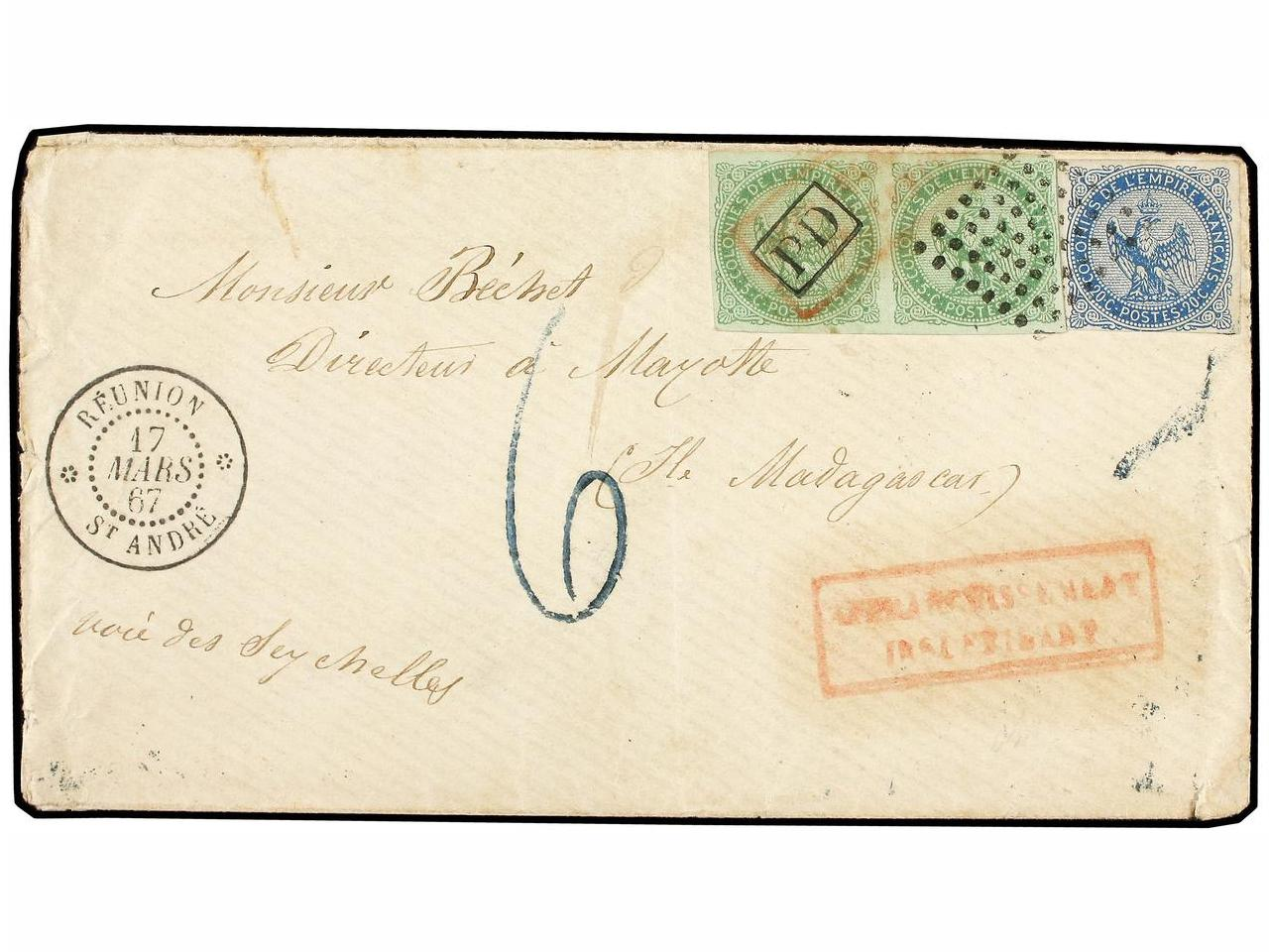 ✉ REUNION. Ce. 2+4. 1867 (March 17). Underpaid cover from ST