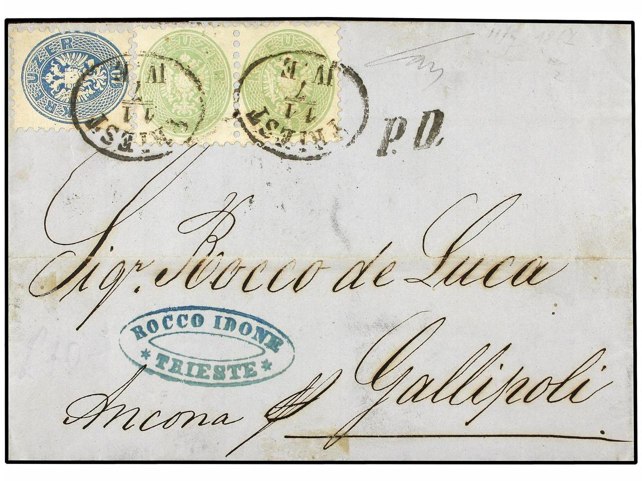 ✉ AUSTRIA. Mi. 31 (2), 33. 1867. TRIEST to GALLIPOLI (Italy)
