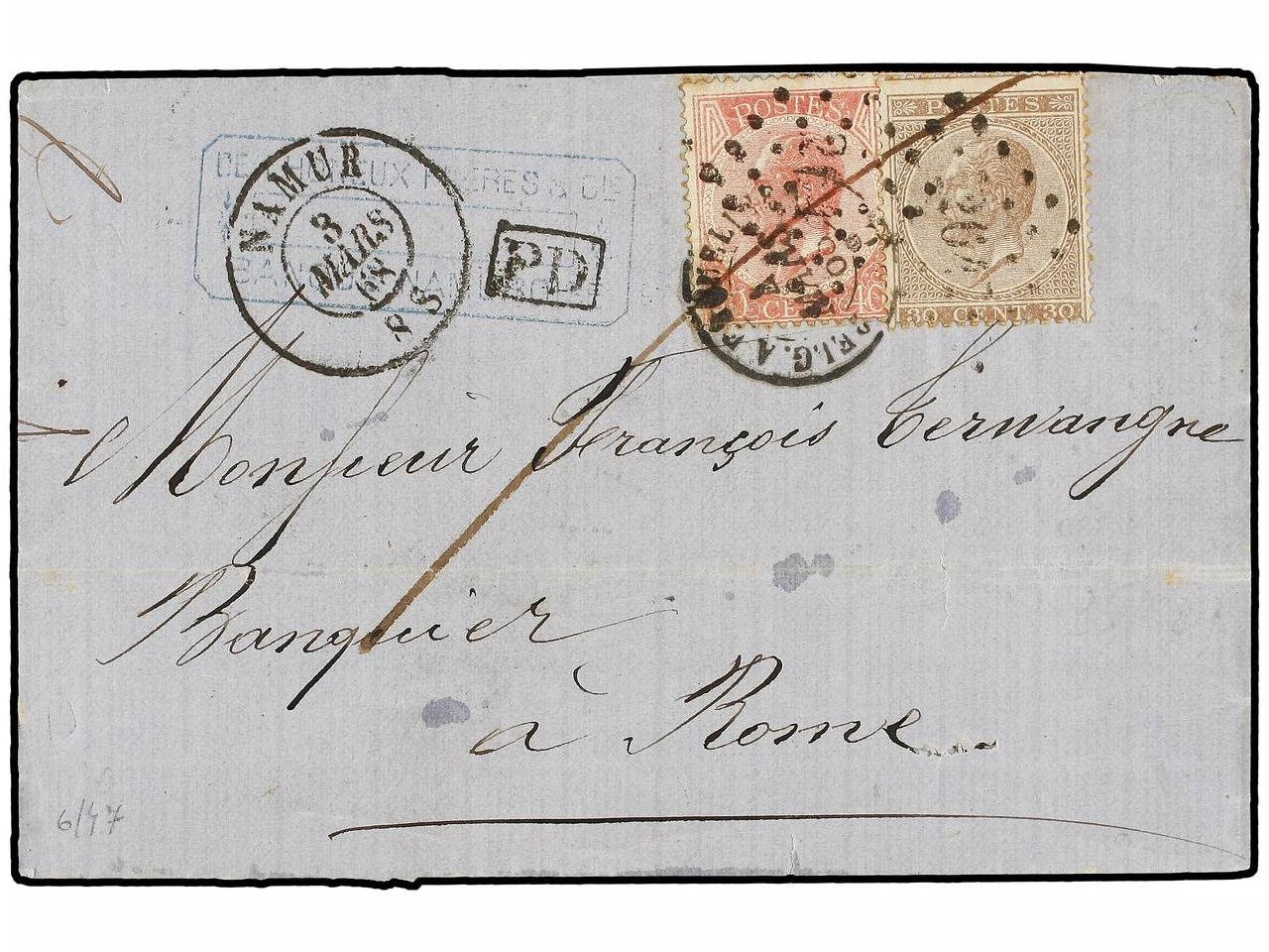 ✉ BELGICA. 1868. NAMUR to ROME. Folded letter franked with 3