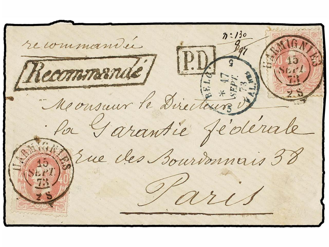 ✉ BELGICA. 1873. HARMIGNIES to FRANCE. Envelope franked with