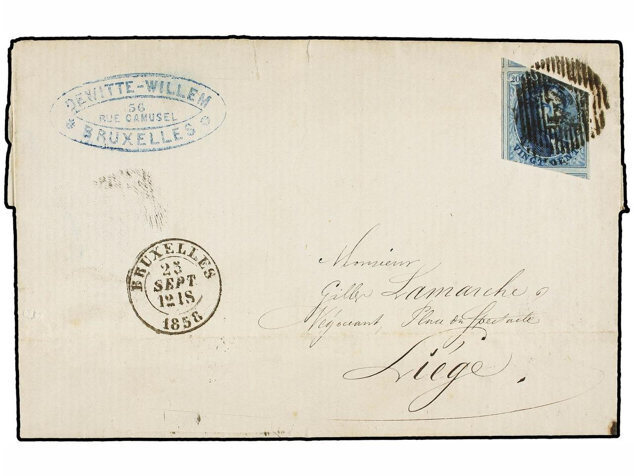 ✉ BELGICA. 1858. BRUXELLES to LIEGE. Entire letter franked w