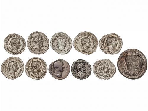 IMPERIO ROMANO. Lote 11 monedas Denario (9), Dracma y Tetrad