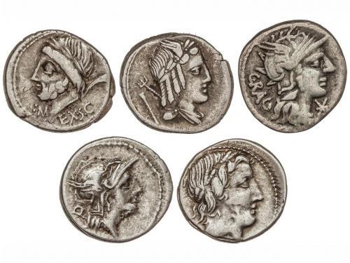 REPÚBLICA ROMANA. Lote 5 monedas Denario. ANÓNIMO-226, ANEST