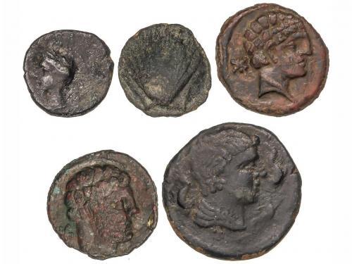 MONEDAS HISPÁNICAS. Lote 5 monedas 1/4 Calco, Cuadrante y Se