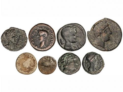 MONEDAS HISPÁNICAS. Lote 8 monedas Cuadrante, Semis (2), As