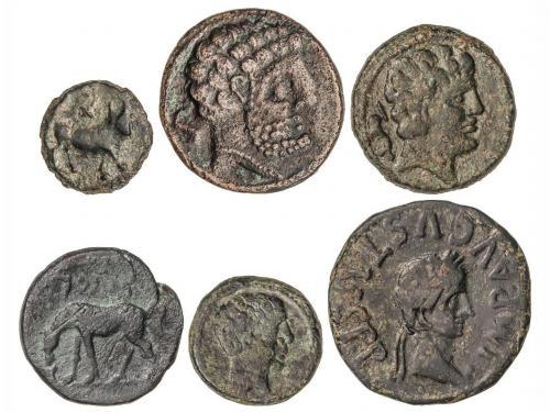 MONEDAS HISPÁNICAS. Lote 6 monedas Cuandrante, Semis (2) y A
