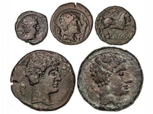 MONEDAS HISPÁNICAS. Lote 5 monedas Cuadrante, Semis (2) y As