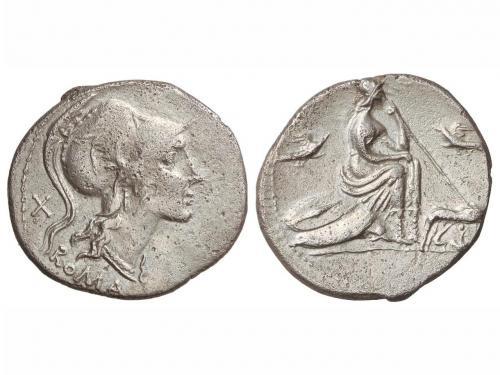 REPÚBLICA ROMANA. Denario. 115-114 a.C. ANÓNIMO. ITALICA CEN