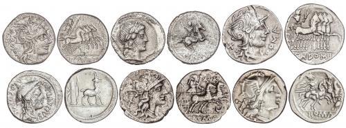 REPÚBLICA ROMANA. Lote 6 monedas Denario. ANÓNIMO (2), CREPU