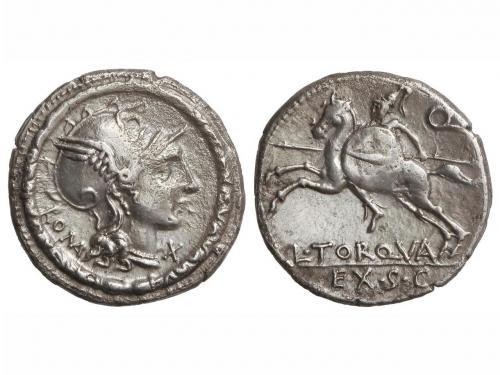 REPÚBLICA ROMANA. Denario. 113-112 a.C. MANLIA-2. ITALIA CEN