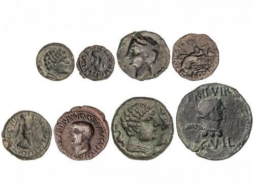 MONEDAS HISPÁNICAS. Lote 9 monedas Sextante a As. AE. Incluy