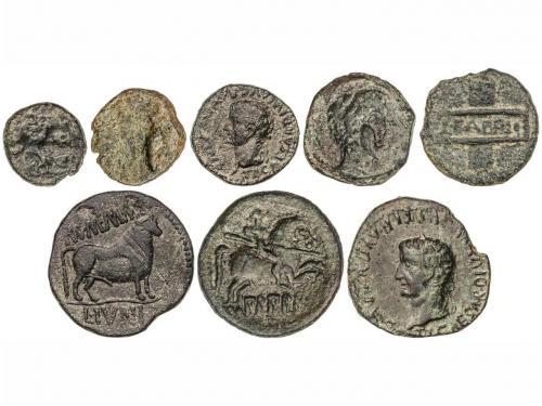 MONEDAS HISPÁNICAS. Lote 8 monedas Cuadrante a As. AE. Inclu
