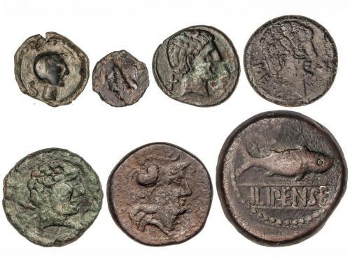 MONEDAS HISPÁNICAS. Lote 7 monedas AE 15, Semis, As (4) y Du