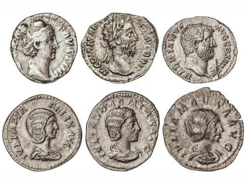 IMPERIO ROMANO. Lote 6 monedas Denario. ADRIANO, FAUSTINA MA