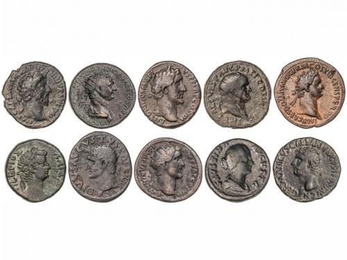 IMPERIO ROMANO. Lote 10 monedas As (5), Dupondio (4) y Tetra