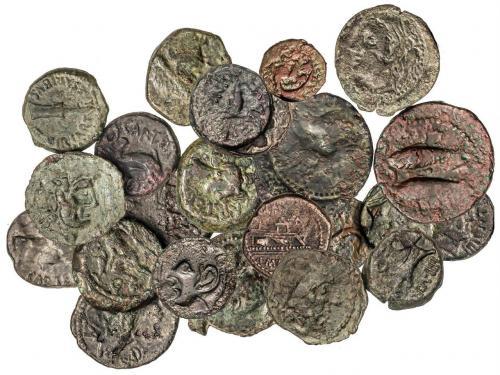 MONEDAS HISPÁNICAS. Lote 24 monedas Cuadrante (2), Semis (19