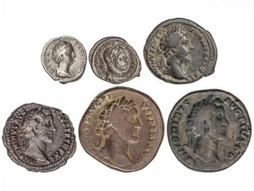 IMPERIO ROMANO. Lote 6 monedas As (2), Sestercio (2) y Denar