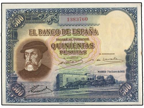 GUERRA CIVIL, ZONA REPUBLICANA. 500 Pesetas. 7 Enero 1935. H