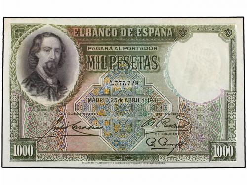 GUERRA CIVIL, ZONA REPUBLICANA. 1.000 Pesetas. 25 Abril 1931