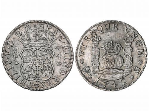 FELIPE V. 4 Reales. 1742. MÉXICO. M.F. 13,19 grs. Pátina osc