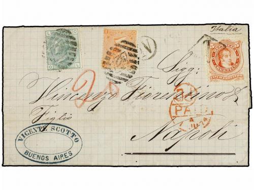 ✉ ARGENTINA. 1874. BUENOS AIRES to NAPLES. 5 cts. orange, ti