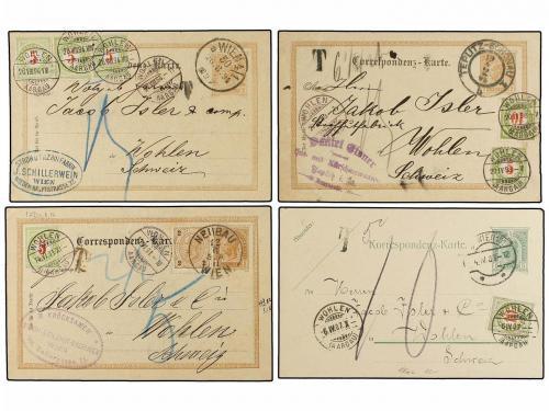 ✉ AUSTRIA. 1891-1909. Eight postal stationary cards taxed on
