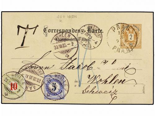✉ AUSTRIA. 1885. PRAG to WOHLEN (Switzerland). 2 kr. postal