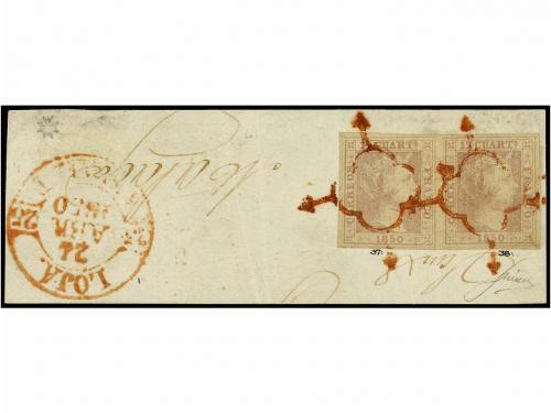 Δ ESPAÑA. Ed. 2. 1850. 12 cuartos lila gris, pareja mat. ARA
