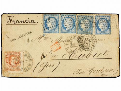 ✉ ARGENTINA. 1874. BUENOS AIRES a FRANCIA. Circulada con sel
