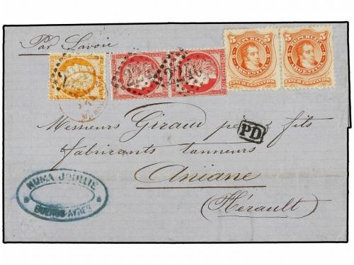✉ ARGENTINA. 1874. BUENOS AYRES a FRANCIA. Circulada con sel