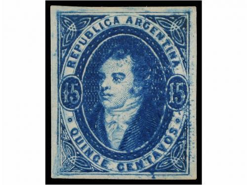 (*) ARGENTINA. Sc. 16. 1867. 15 ctvos. azul sin filigrana. C