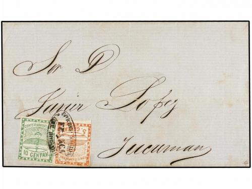 ✉ ARGENTINA. Sc. 1, 2. (1859 CA.). ROSARIO a TUCUMAN. 5 cts.