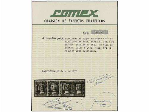 ° ESPAÑA. Ed. 1A (4). 6 cuartos negro, pl. II tipos 4, 5, 6,