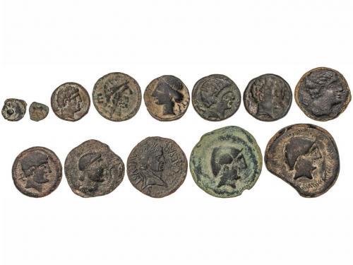 MONEDAS HISPÁNICAS. Lote 13 monedas 1/8, 1/4 y 1 Calco, Semi