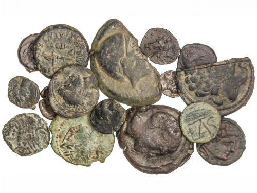 MONEDAS HISPÁNICAS. Lote 16 monedas Óbolo, Sextante, 1/4 Cal