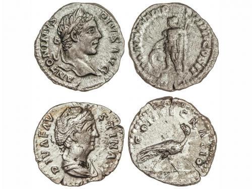 IMPERIO ROMANO. Lote 2 monedas Denario. Acuñadas el 141 y 20