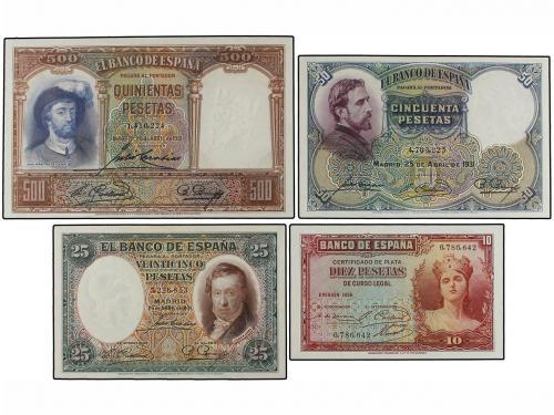 GUERRA CIVIL, ZONA REPUBLICANA. Lote 4 billetes 10, 25, 50 y