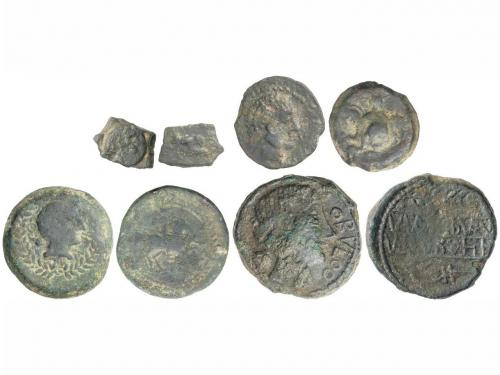 MONEDAS HISPÁNICAS. Lote 4 monedas 1/8 Calco, Semis (2) y As
