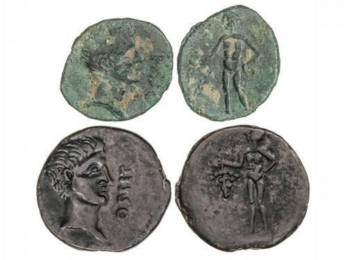 MONEDAS HISPÁNICAS. Lote 2 monedas As. 120-20 a.C. OSET (AZN