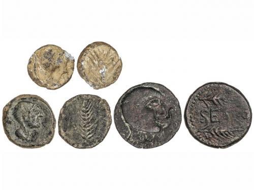 MONEDAS HISPÁNICAS. Lote 3 monedas Semis, As y Plomo monetif