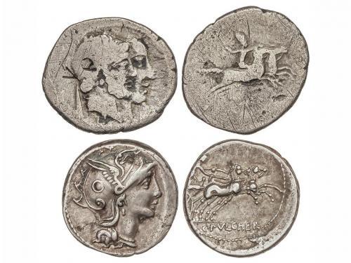 REPÚBLICA ROMANA. Lote 2 monedas Denario. 110-109 y 88 a.C.