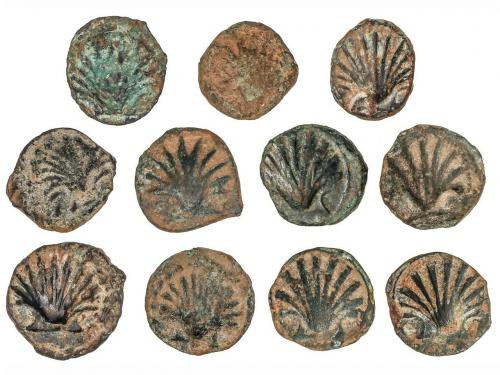 MONEDAS HISPÁNICAS. Lote 11 monedas Sextante. 170-20 a.C. AR