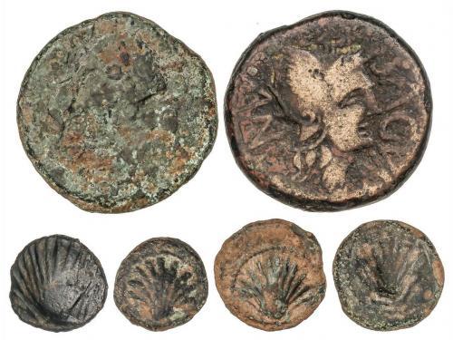 MONEDAS HISPÁNICAS. Lote 6 monedas Sextante, Cuadrante (3) y